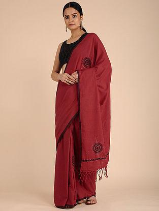 Red-Black Chikankari Cotton saree with Mukaish Work