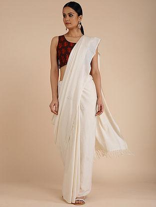 Ivory Chikankari Cotton saree with Mukaish Work