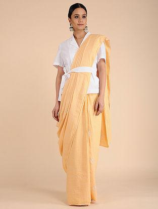 Yellow-Ivory Chikankari Cotton saree with Mukaish Work