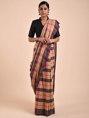 Beige-Purple Handwoven Cotton Saree