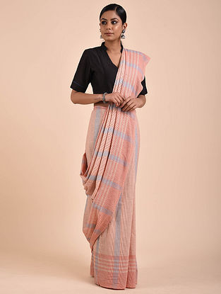Pink-Blue Handwoven Cotton Saree
