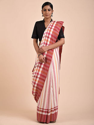 Off White-Red Handwoven Cotton Saree