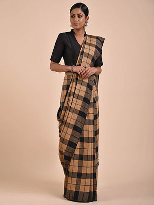 Brown-Black Handwoven Cotton Saree