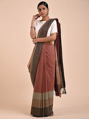 Red-Charcoal Handwoven Cotton Saree