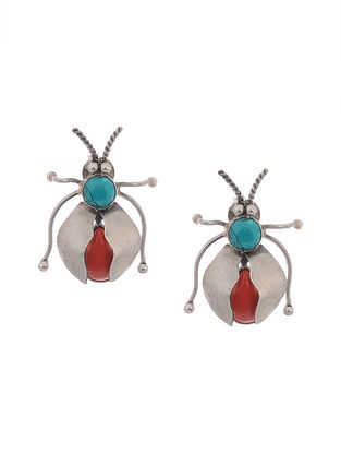 Turquoise-Red Silver Earrings