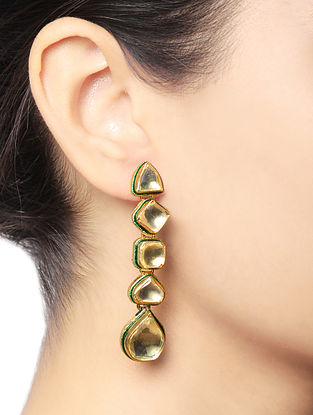 White Gold Tone Kundan Inspired Brass Earrings
