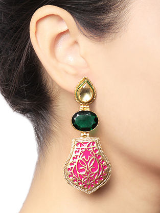 Green-Pink Gold Tone Brass Earrings
