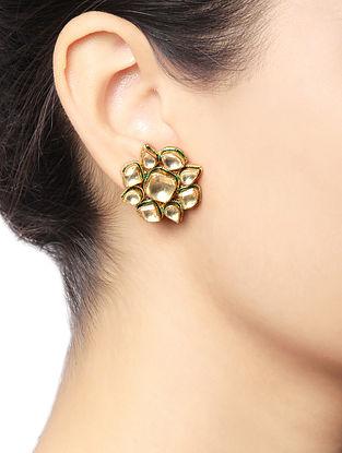 White Gold Tone Brass Stud Earrings