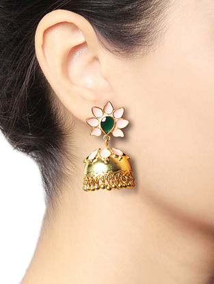 Pink-Green Gold Tone Brass Jhumkis