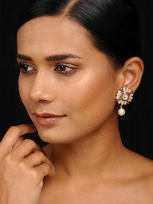 Orange-Blue Kundan Inspired Enameled Brass Stud Earrings
