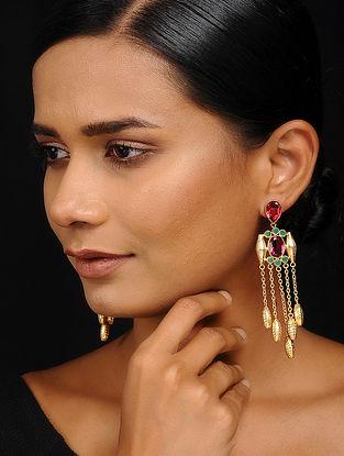 Pink-Green Gold Tone Brass Earrings