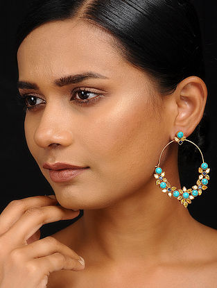 Turquoise Gold Tone Crystal Brass Hoops