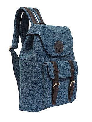 Blue Handcrafted Denim and Leather Backpack