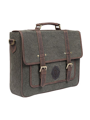 Olive Handcrafted Denim and Leather Laptop Bag