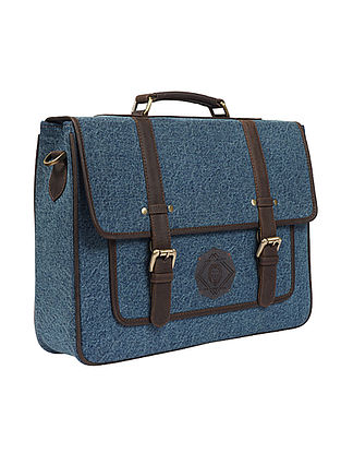 Blue Handcrafted Denim and Leather Laptop Bag