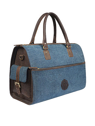 Blue Handcrafted Denim and Leather Duffle Bag
