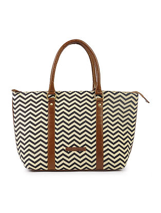 Black-Brown Cotton and Leather Tote