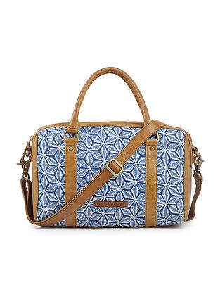 Indigo-Tan Cotton and Leather Handbag