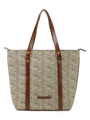Black-Cream Cotton and Leather Tote