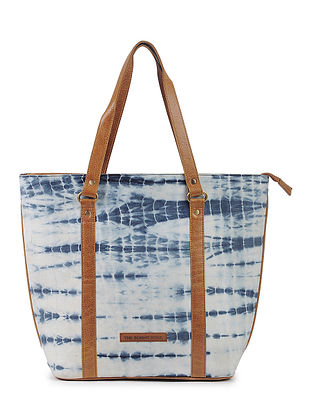 Indigo-Tan Cotton and Leather Tote