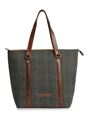 Black-Tan Checkered Cotton and Leather Tote