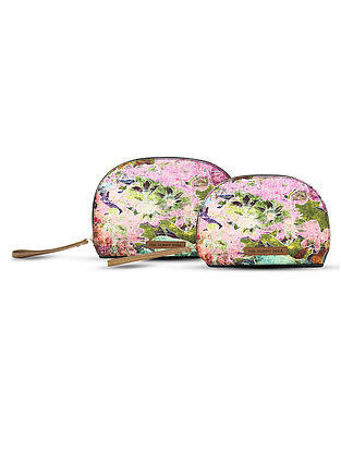 Pink Digital-Printed Canvas and Leather Pouch