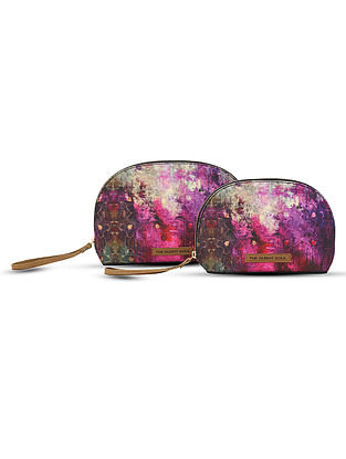 Purple Digital-Printed Canvas and Leather Pouch