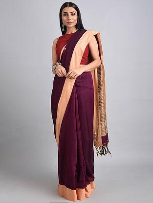 Purple-Cream Handwoven Cotton Saree