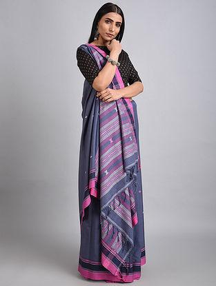Blue-Pink Handwoven Cotton Saree