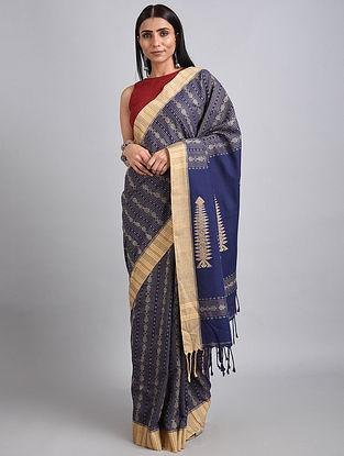 Blue-Beige Handwoven Cotton Saree