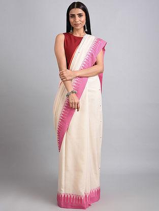 Ivory-Pink Handwoven Cotton Saree