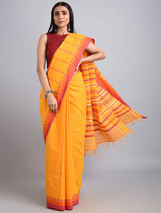 Yellow-Orange Handwoven Cotton Saree