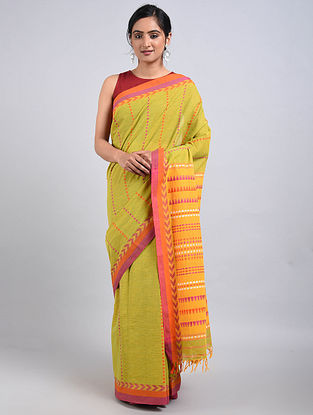 Green-Orange Handwoven Cotton Saree