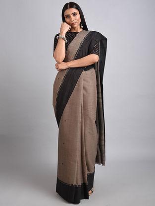 Taupe-Black Handwoven Cotton Saree