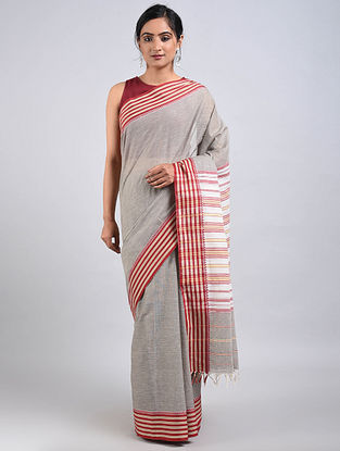 Grey-Red Handwoven Cotton Saree