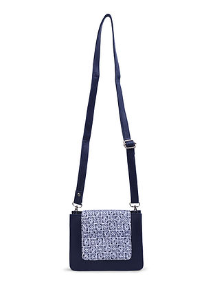 Black-White Leather Sling Bag