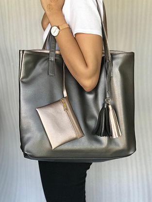 Gold-Silver Reversible Leather Tote Bag