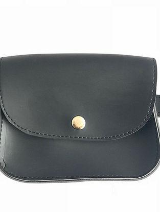 Black Leather Waist cum Sling Bag