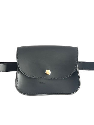 Black Leather Waist cum Sling Bag