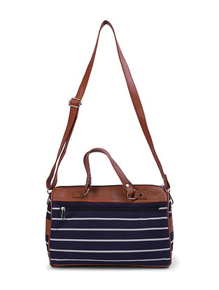 Blue-Brown Canvas and Leather Mini Duffle Bag