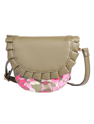 Green Pink Canvas Sling Bag