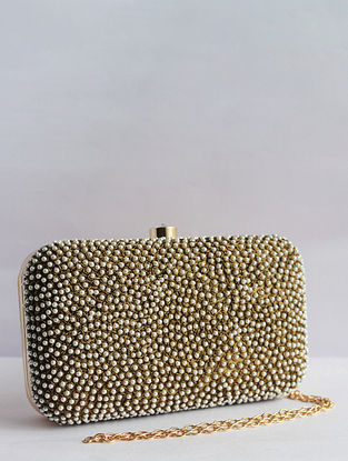 Gold White Pearl Embroidered Silk Clutch