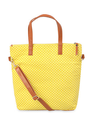 Yellow Handcrafted Faux Leather Tote Bag