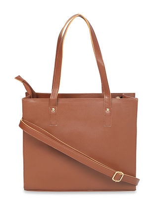 Brown Handcrafted Faux Leather Tote Bag