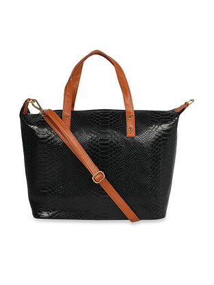 Black Handcrafted Faux Leather Tote Bag