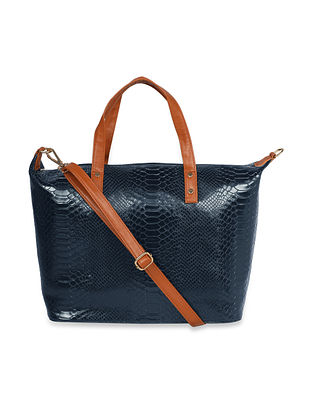 Blue Handcrafted Faux Leather Tote Bag