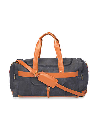 Blue Handcrafted Faux Leather Luggage Bag