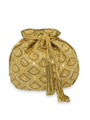 Gold Handcrafted Silk Potli