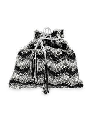 Silver Black Handcrafted Silk Potli