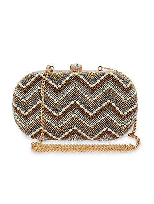 Gold Handcrafted Faux Leather Clutch